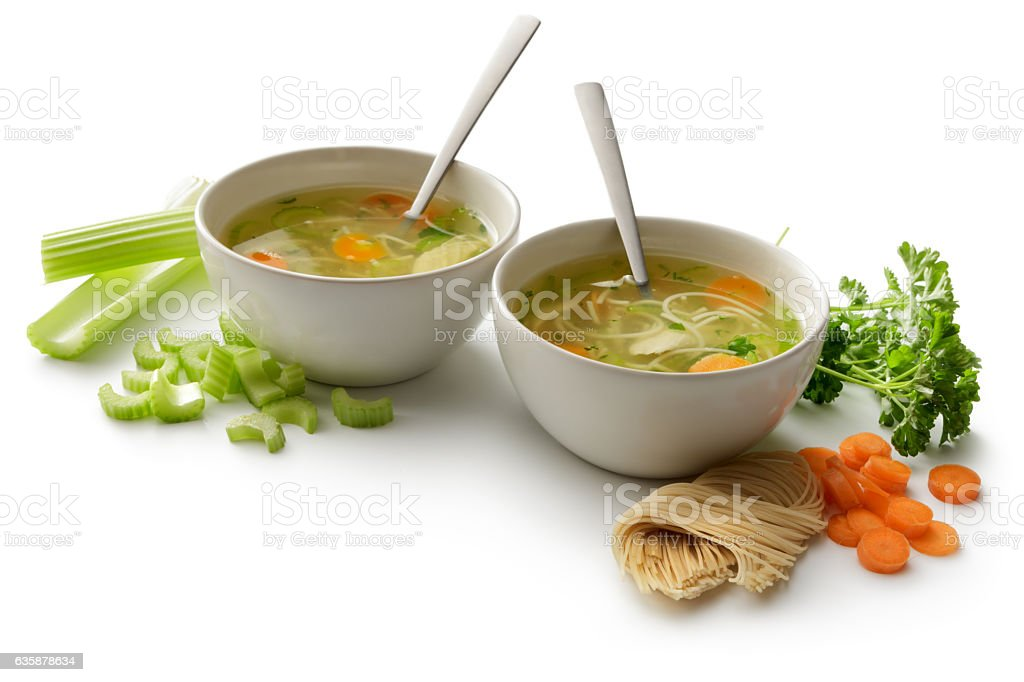 Soups: Chicken Soup and Ingredients Isolated on White Background stock photo