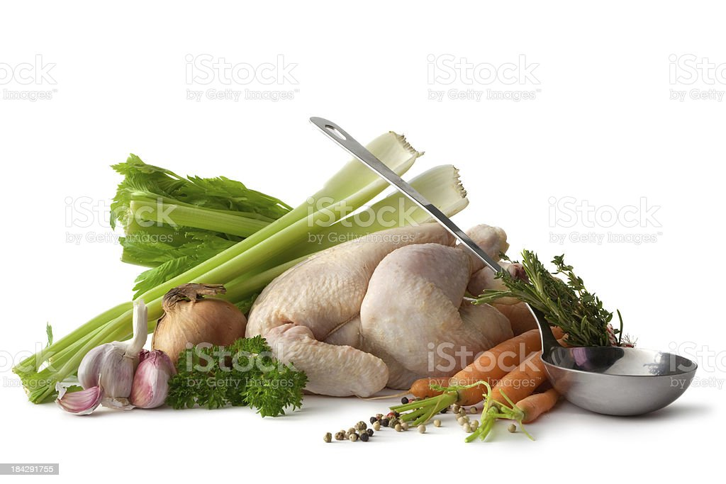 Soups: Chicken Soup Ingredients Isolated on White Background stock photo