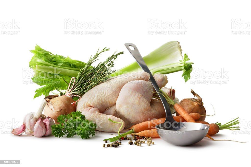 Soups: Ingredients for Chicken Soup Isolated on White Background stock photo