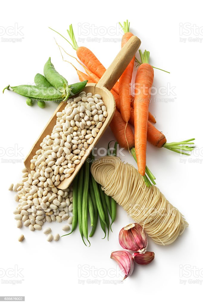 Soups: Ingredients for Vegetable Soup Isolated on White Background stock photo