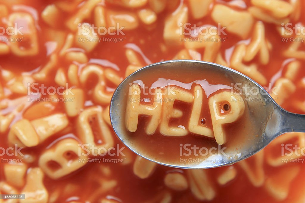 A soup's silent cry for help. royalty-free stock photo