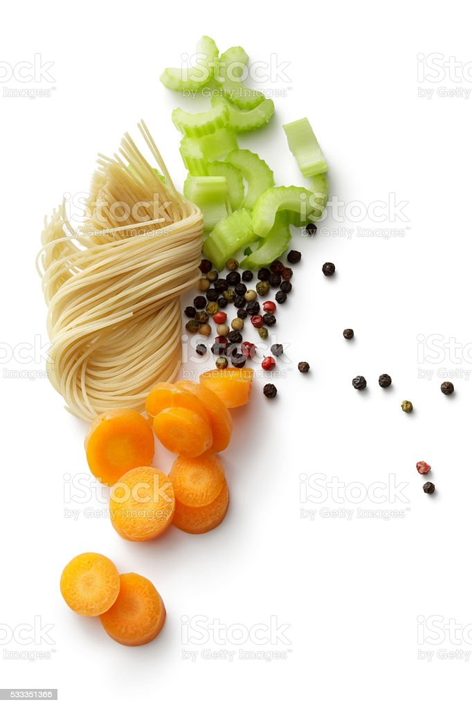 Soups: Soup Ingredients Isolated on White Background stock photo