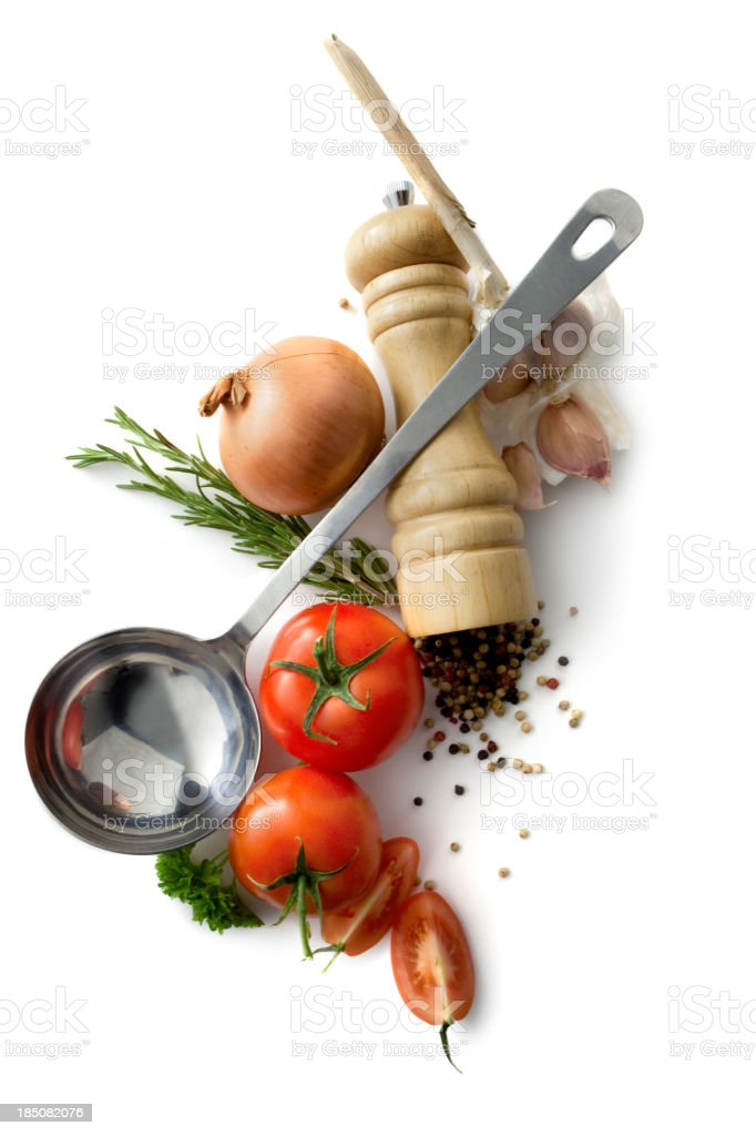 Soups: Tomato Soup Ingredients Isolated on White Background stock photo