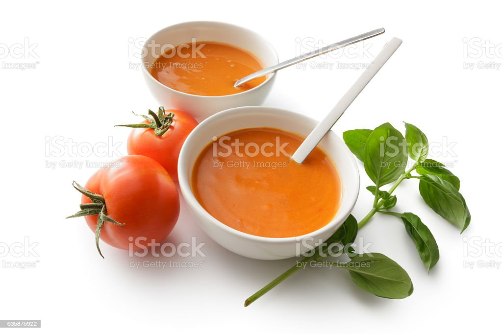 Soups: Tomato Soup Isolated on White Background stock photo
