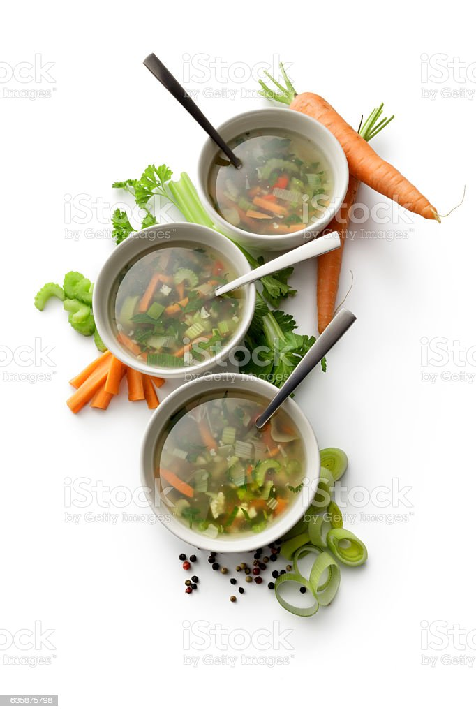 Soups: Vegetable Soup and Ingredients Isolated on White Background - Photo