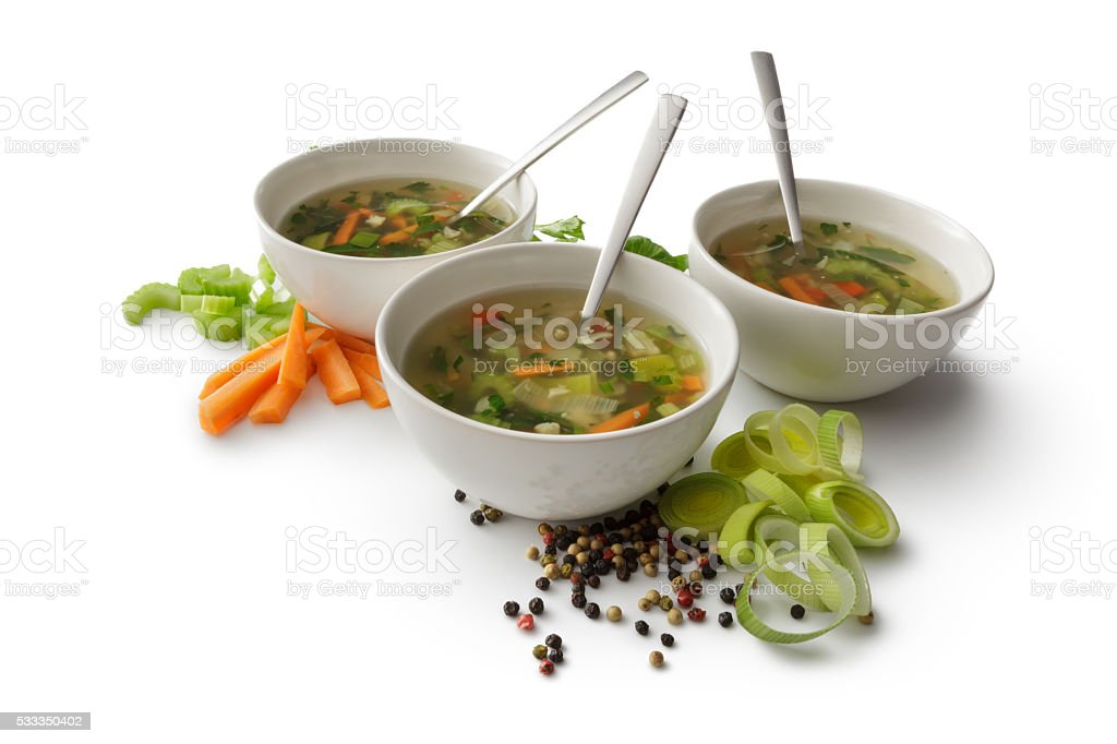 Soups: Vegetable Soup Isolated on White Background stock photo