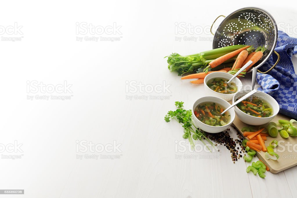 Soups: Vegetable Soup Still Life stock photo