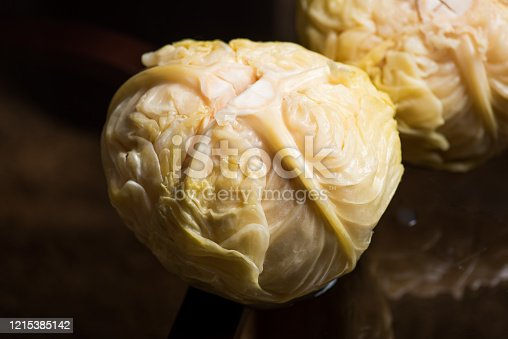 Sour cabbage on a table for a winter salad