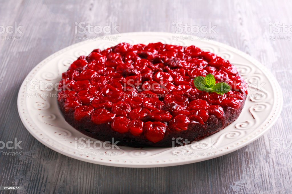 Sour cherry chocolate upside down cake stock photo