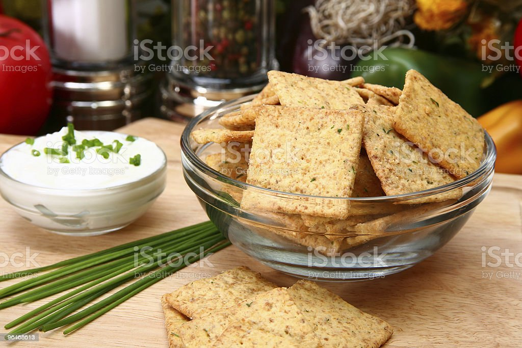 Sour Cream and Chive Flavored Crackers royalty-free stock photo