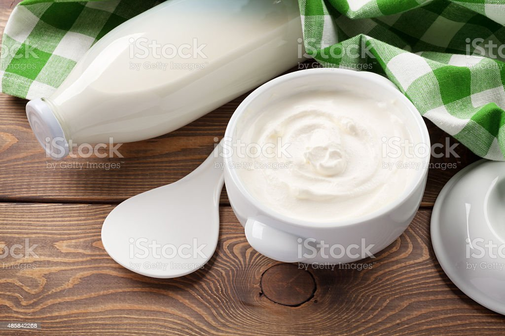 Sour cream and milk stock photo