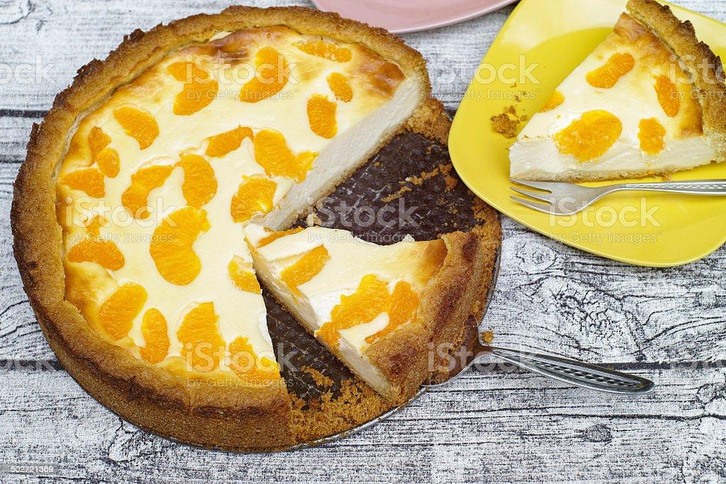 Sour cream cake with Mandarin stock photo