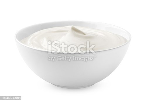 sour cream in glass, mayonnaise, yogurt, isolated on white background, clipping path, full depth of field