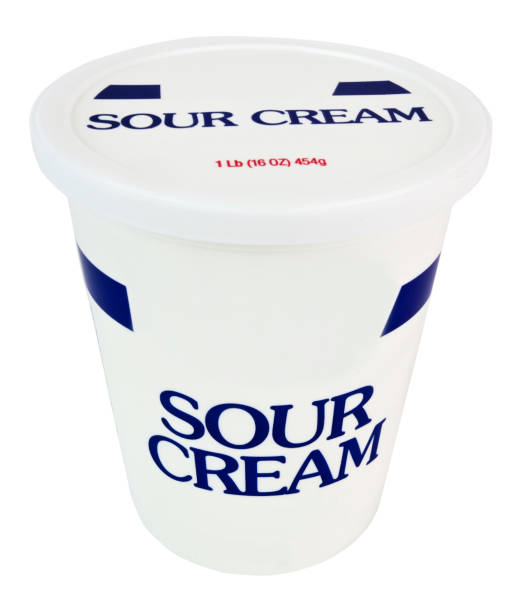 Sour Cream Sour cream container. Isolated. sour cream stock pictures, royalty-free photos & images