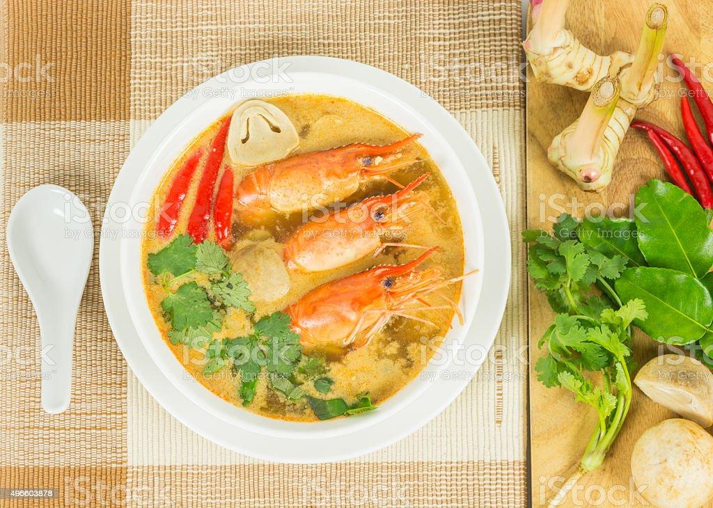 Sour prawn soup stock photo