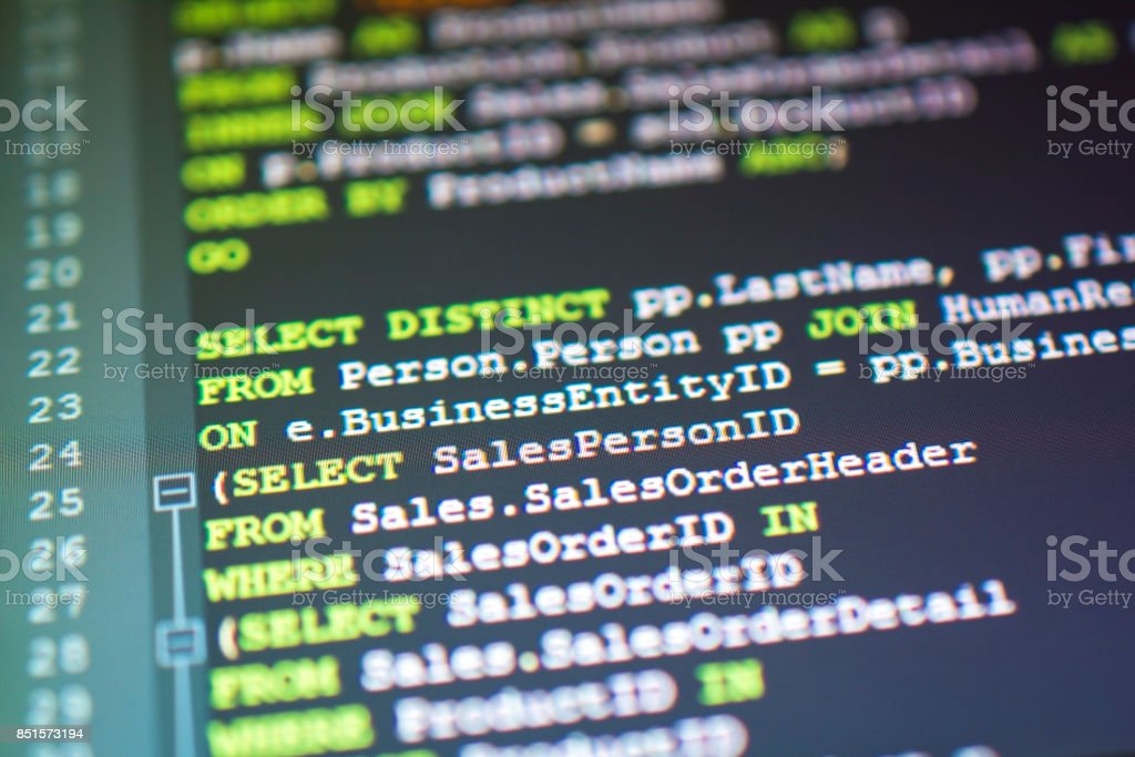 SQL source code close-up concept stock photo