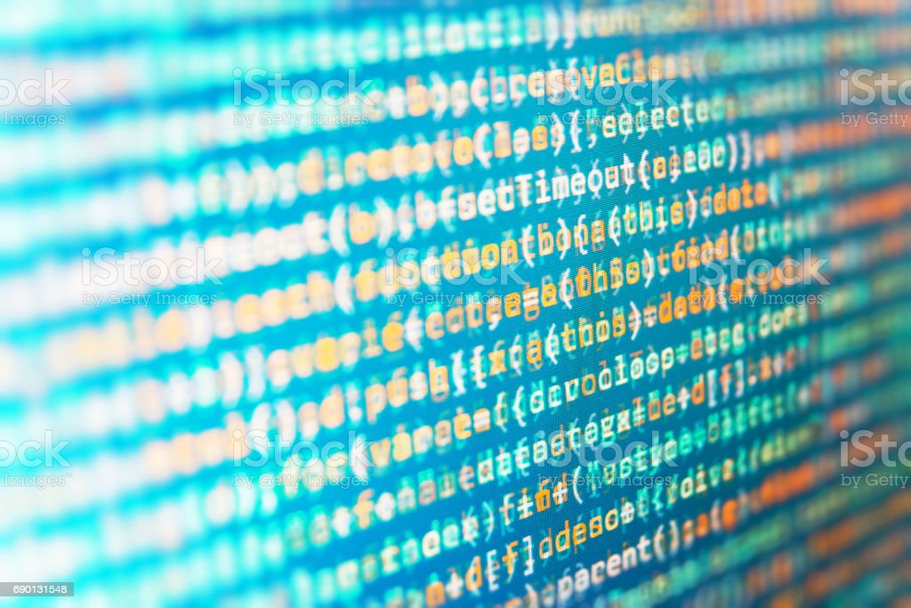 Source code close-up. Information technology website coding standards for web design stock photo