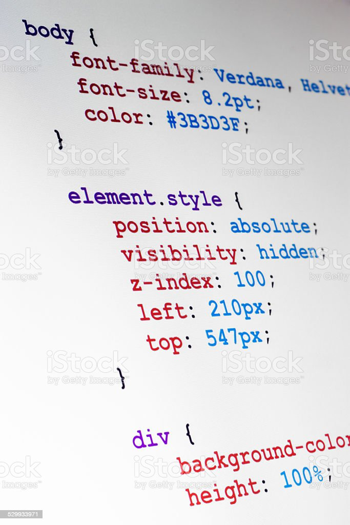 CSS source code closeup vertical view stock photo