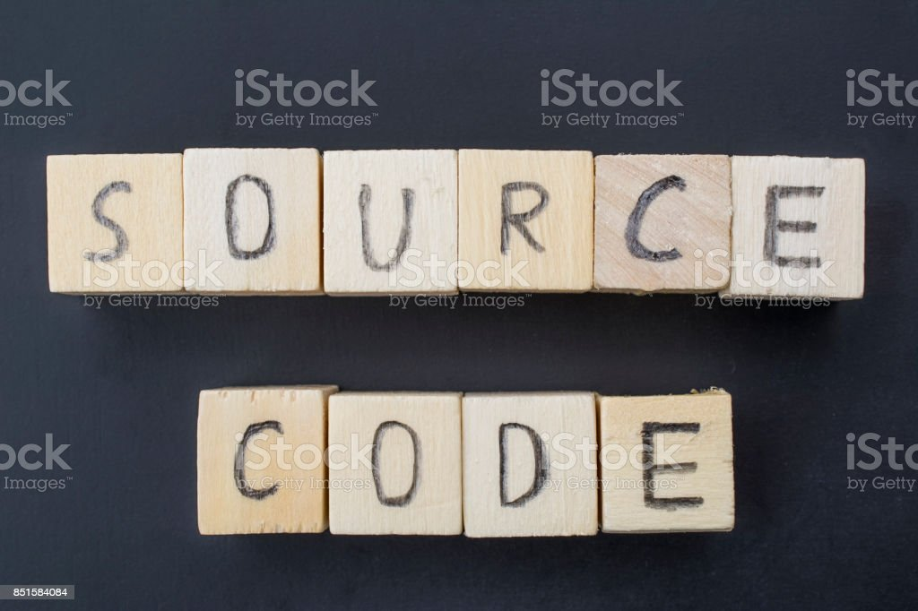 Source Code concept close-up stock photo