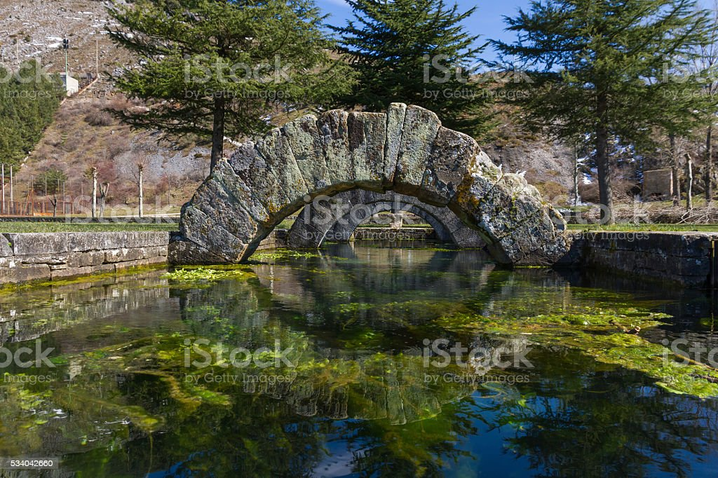 Source of La Reana Palencia Spain - Fuente Romana stock photo