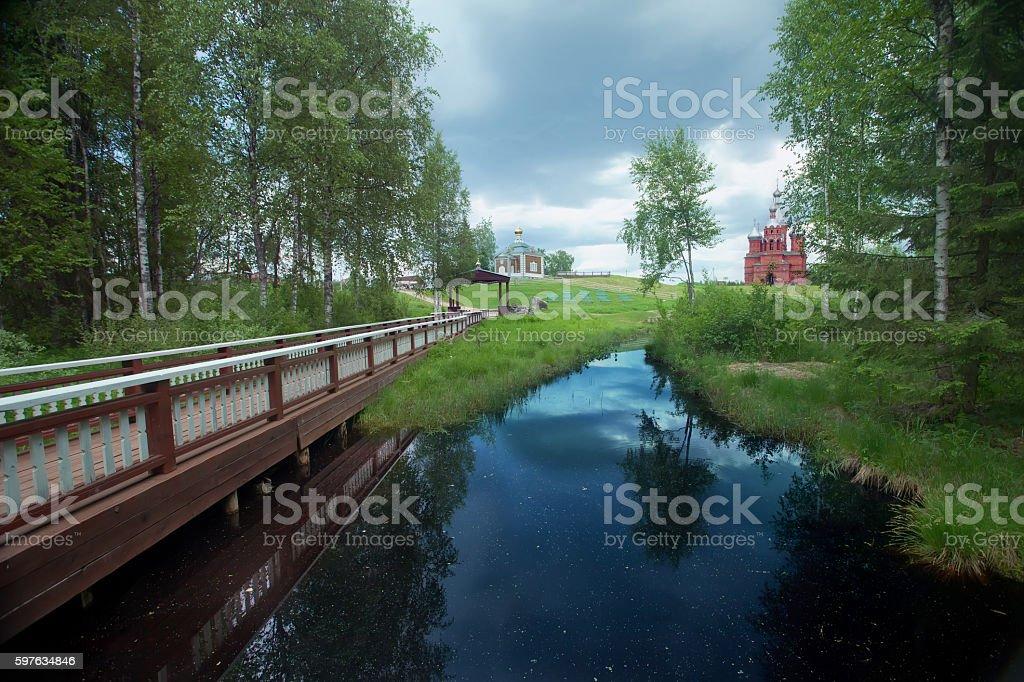 Source of Volga. Russian river stock photo