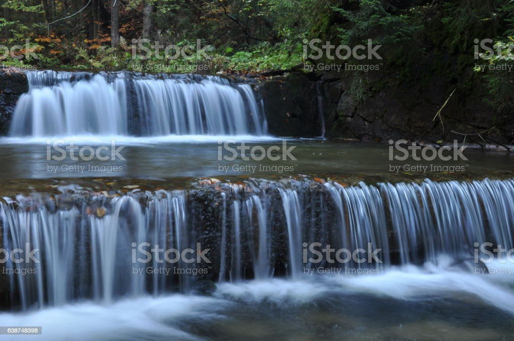 Source Vistula. Crystalline stream, clean water and waterfall stock photo