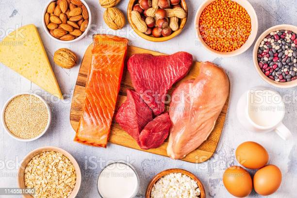 Sources of healthy protein meat fish dairy products nuts legumes and picture id1145581060?b=1&k=6&m=1145581060&s=612x612&h=wt py4jkz6el0d3mfigtv8qkfbnzz mpkb13blah1t0=