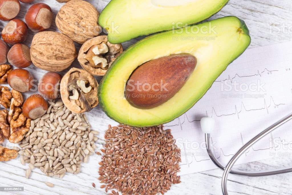 Sources of omega 3 fatty acids contained in the food. stock photo