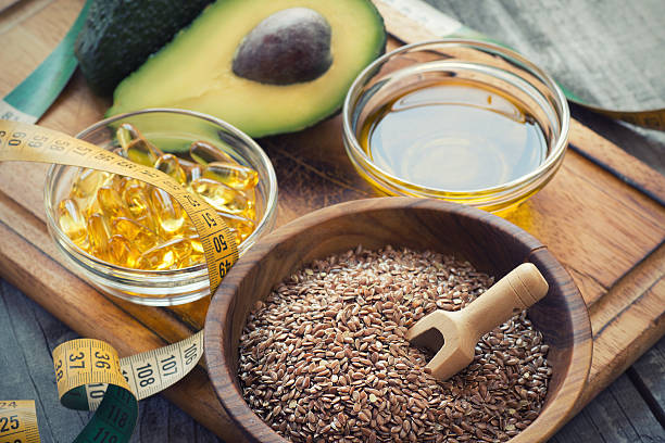 Sources of omega 3 fatty acids stock photo