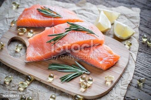 istock Sources of Omega-3 acid (salmon and Omega-3 pills) 503785472