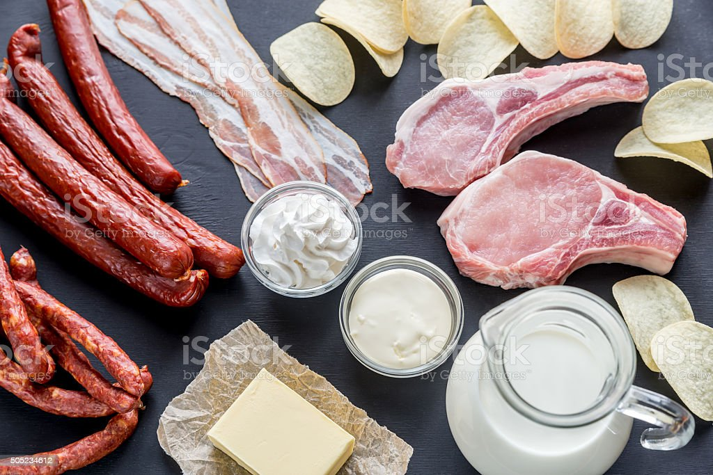 Sources of saturated fats stock photo
