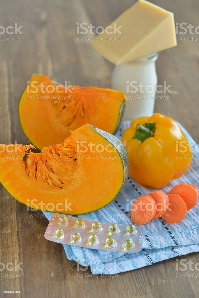 Sources of Vitamin A stock photo
