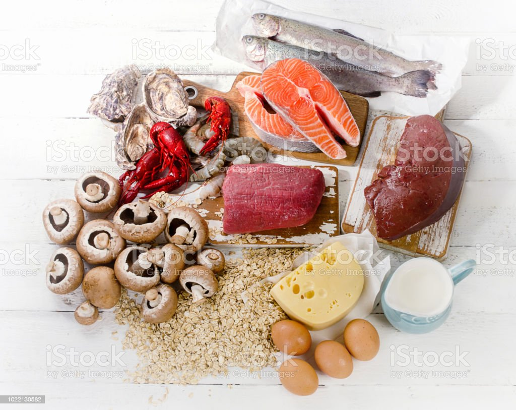Sources of Vitamin B12 (Cobalamin). stock photo