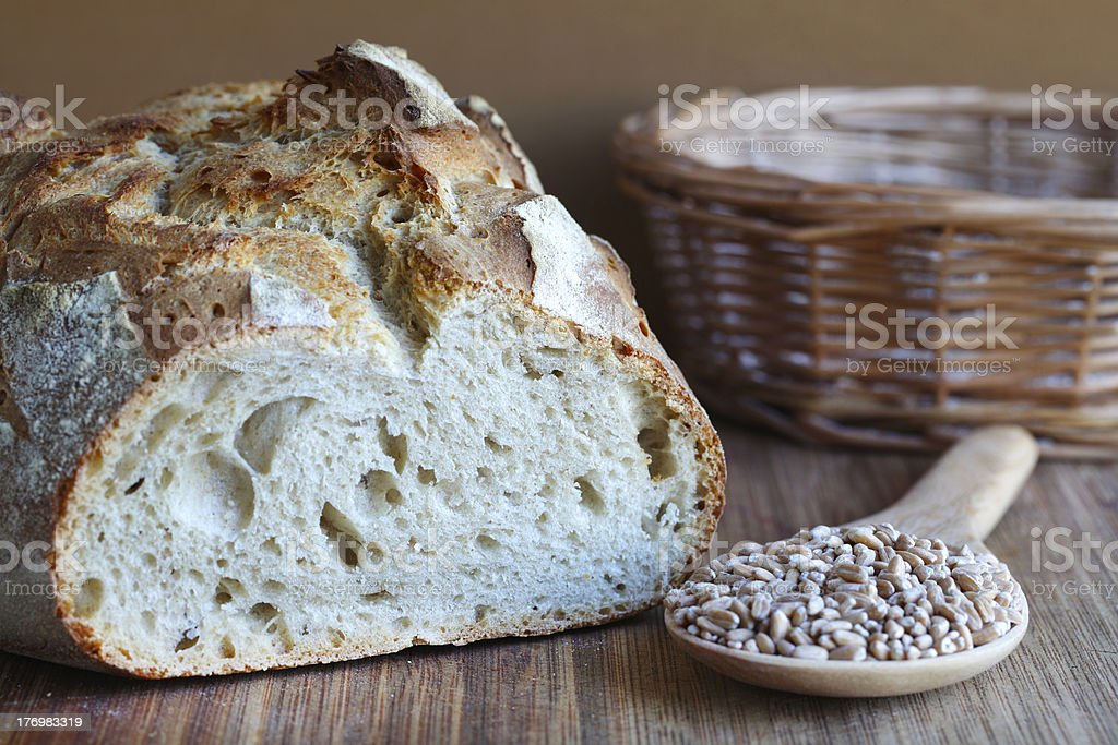 Sourdough artisan loaf with spelt seeds stock photo