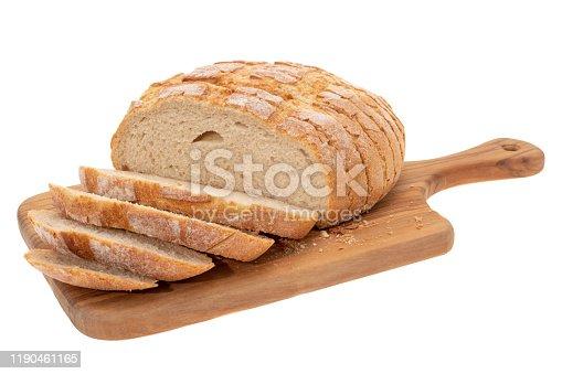 Sliced sourdough bread on a cutting board - white background