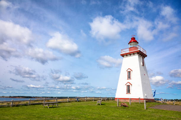 souris lighthouse on prince edward island - prince edward island stock photos and pictures