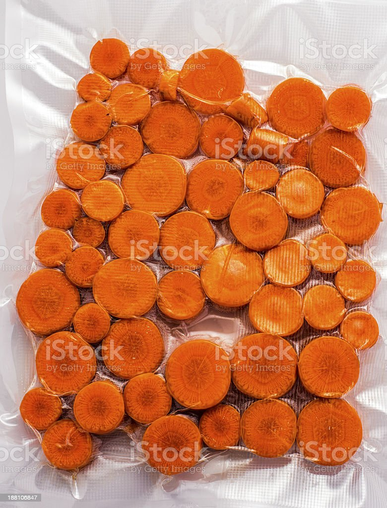 Sous vide cooking: Carrots stock photo