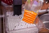 Carrot in in vacuumed package. Sous-vide.
