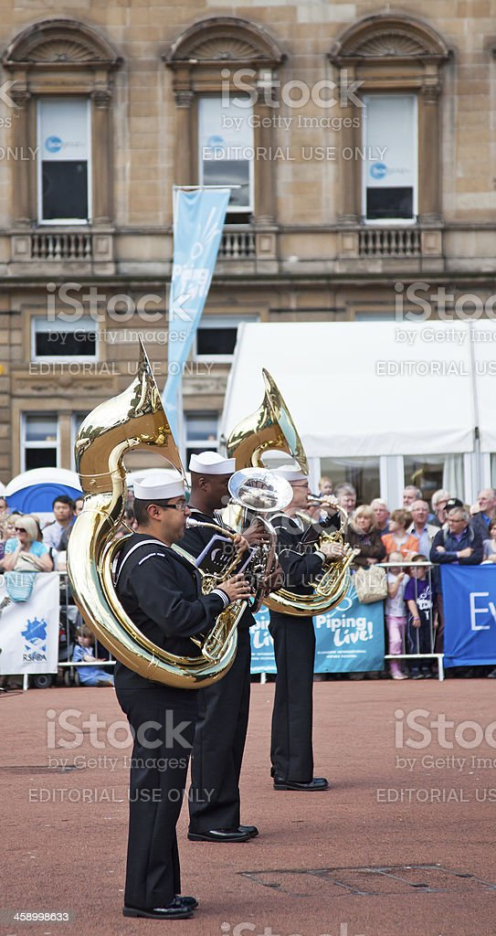 Sousaphone and Tuba Musicians - US Naval Forces Europe band stock photo