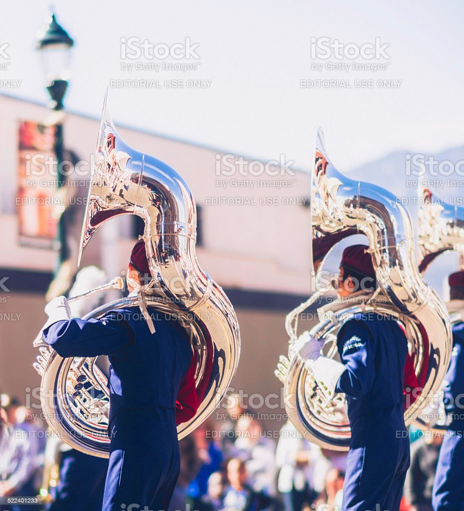 Sousaphone marching band players in Veterans Day Parade stock photo