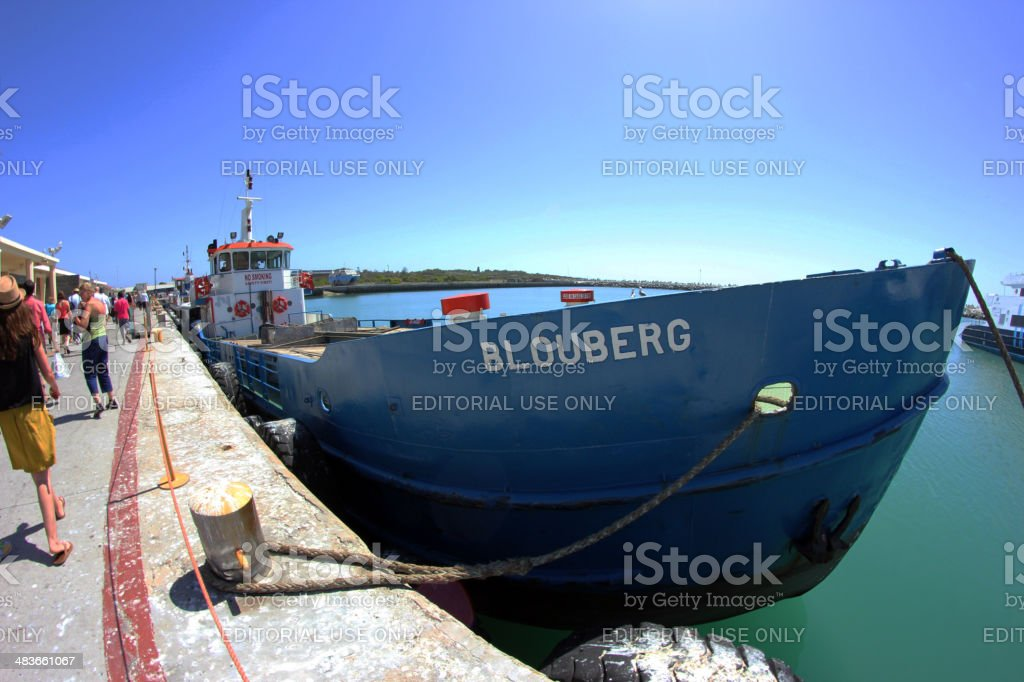 South Africa: Blouberg docked at Robben Island stock photo