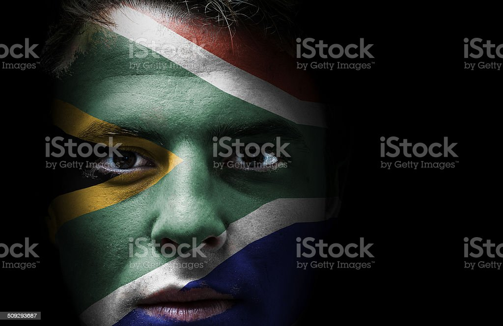 South Africa flag on face stock photo