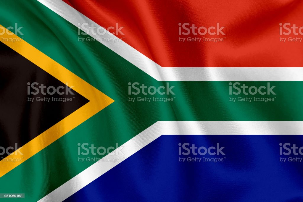 África do Sul bandeira acenando fundo - foto de acervo