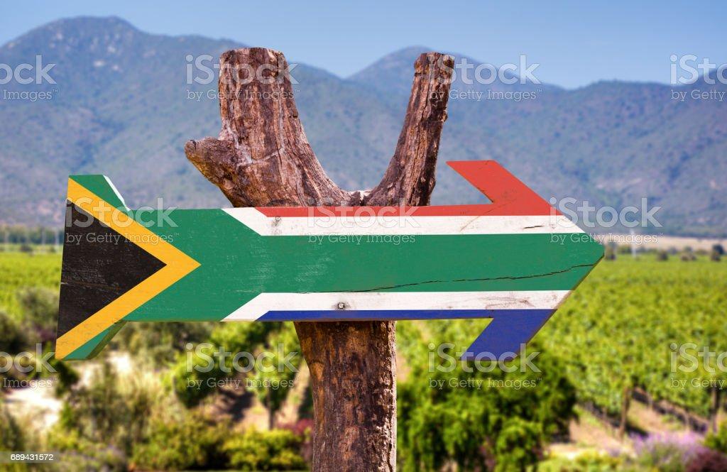 Letrero de madera bandera de Sudáfrica - foto de stock