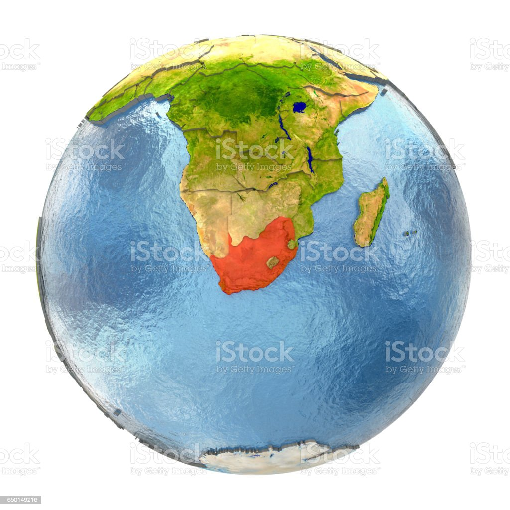 Full Earth Map.South Africa In Red On Full Earth Stock Photo More Pictures Of