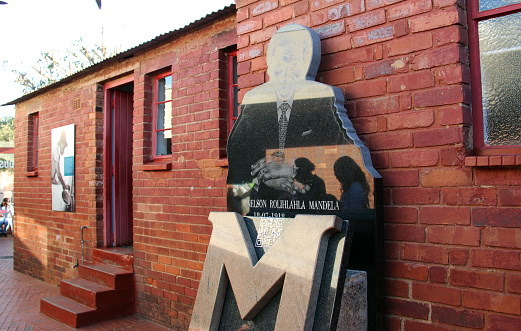 Soweto, South Africa - August 8, 2015: The historic Mandela House in Soweto. It was Nelson Mandela's home from 1946 until 1962 when he was incarcerated, then for eleven days after he was freed. Today it is one of the most visited sites in South Africa.