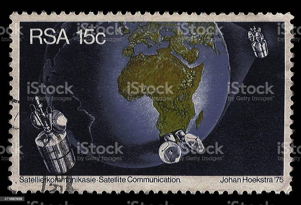 South Africa Postage Stamp Satellite Communication 1975 royalty-free stock photo