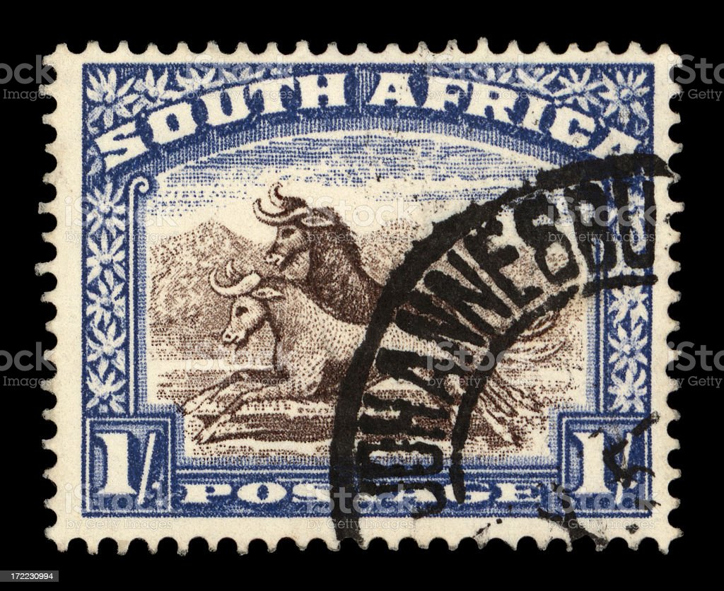 south africa stamp stock photo
