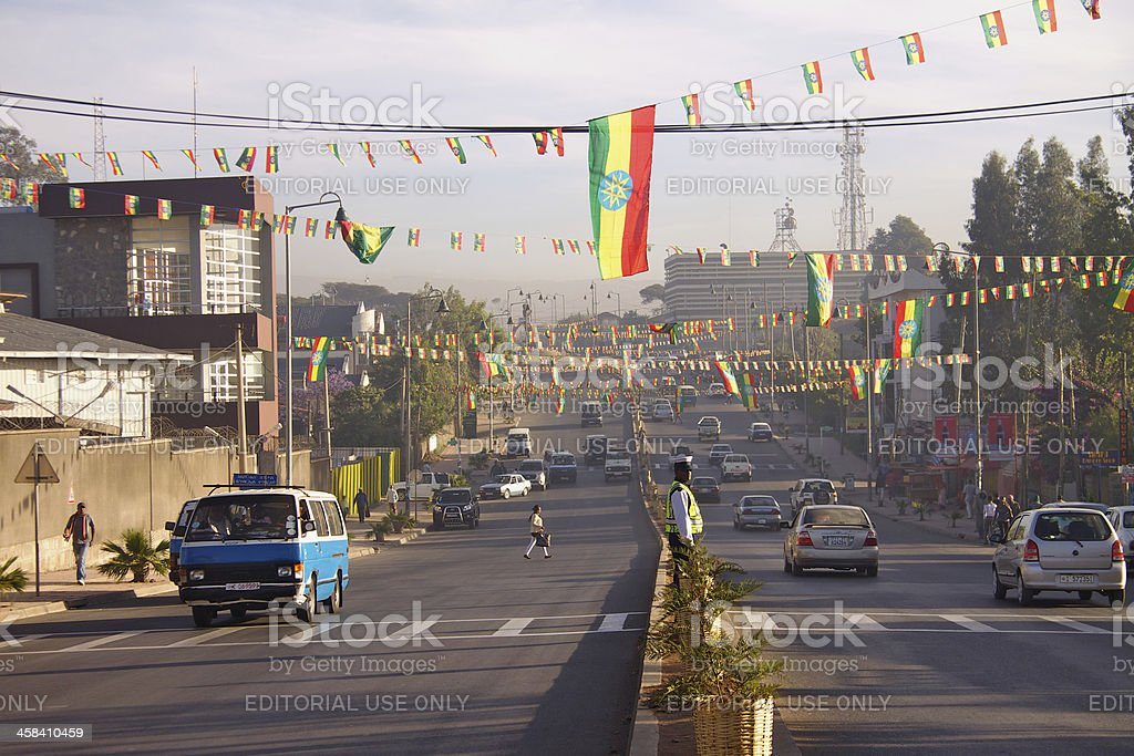 South Africa Street in Addis Ababa Addis Ababa, Ethiopia - January 15, 2013 : South Africa Street has been decorated with flags for Ethiopian Epiphany Celebration. Addis Ababa Stock Photo