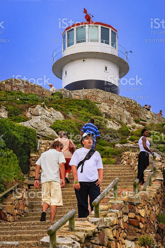 South Africa - The old lighthouse at Cape Point stock photo